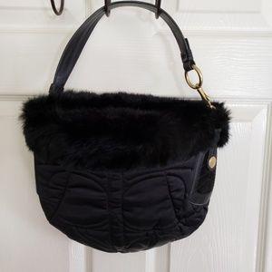 Coach Black Rabit Fur Trimmed Handbag